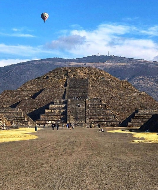 Balloon over Teotihuacan, Mexico.